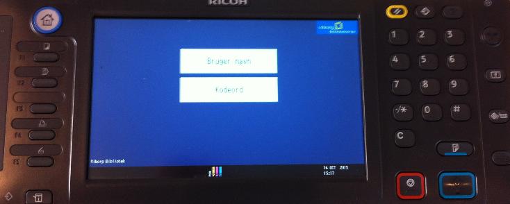 Billede af display på printer