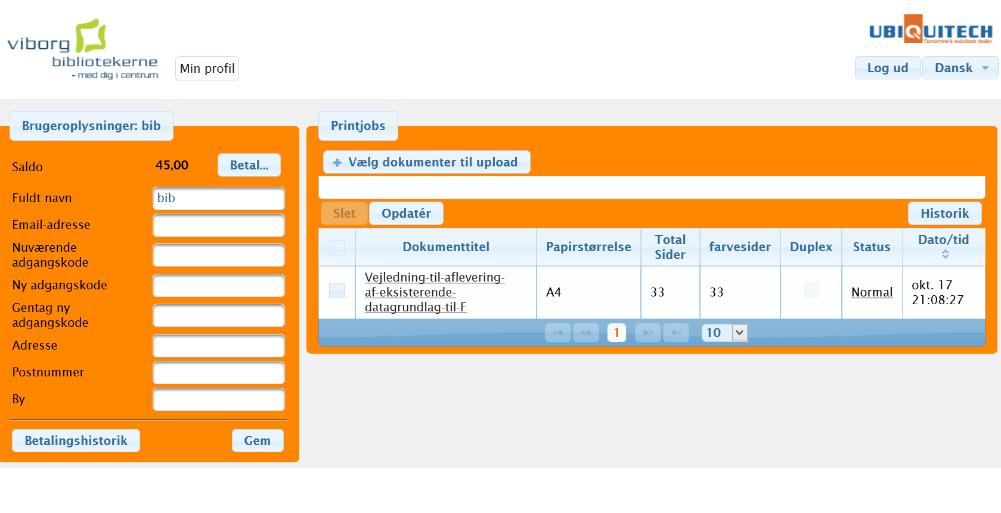 Skærmbillede af oversigten over de dokumenter du har valgt til print