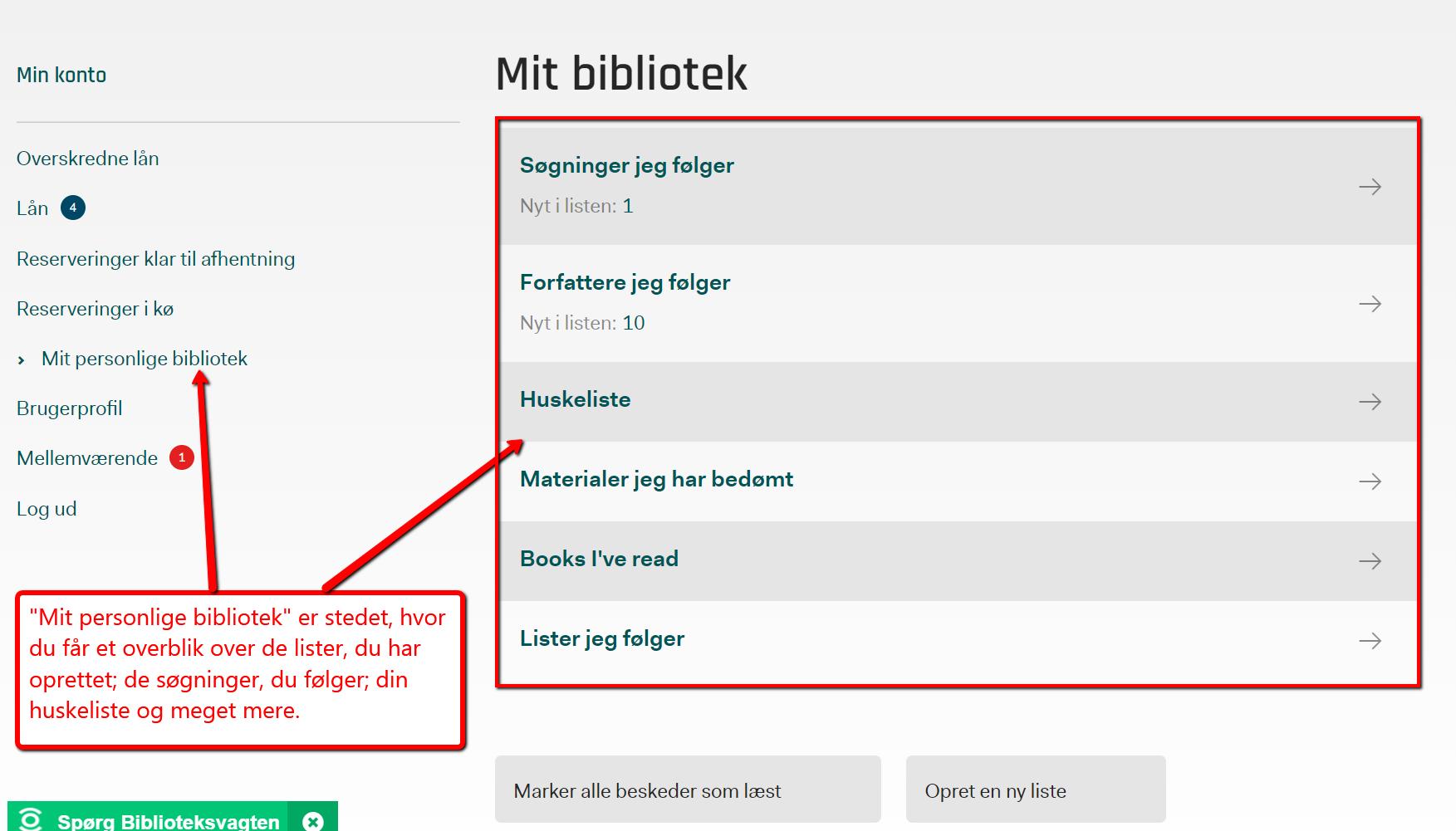 Forsiden af 'Mit personlige bibliotek', hvor du kan oprette, tjekke og dele lister mv.